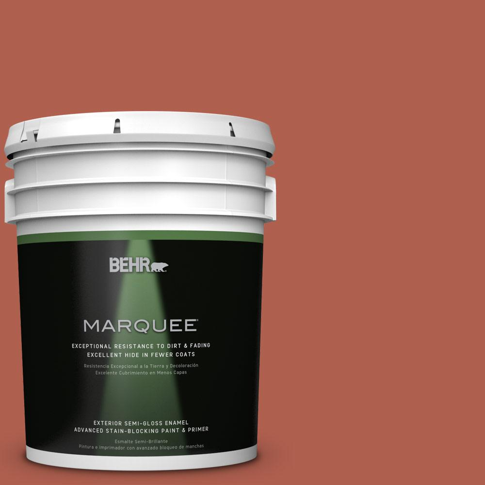 BEHR MARQUEE 5-gal. #BIC-46 Clay Red Semi-Gloss Enamel Exterior Paint