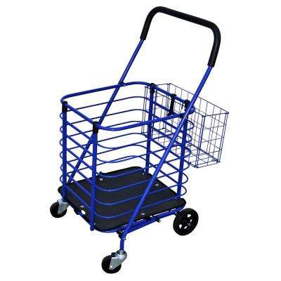 Steel Grocery Cart in Blue with Accessory Basket