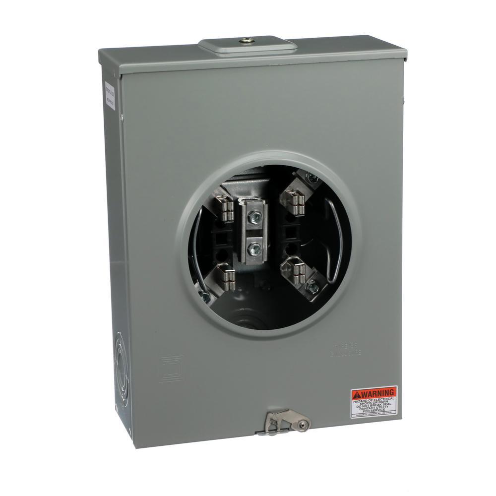 200 Amp Ringless Overhead/Underground Steel Meter Socket with Meter Equipment Group Label