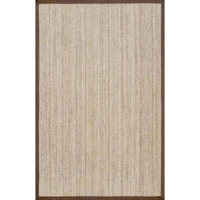 Elijah Seagrass with Border Brown 9 ft. x 12 ft. Area Rug