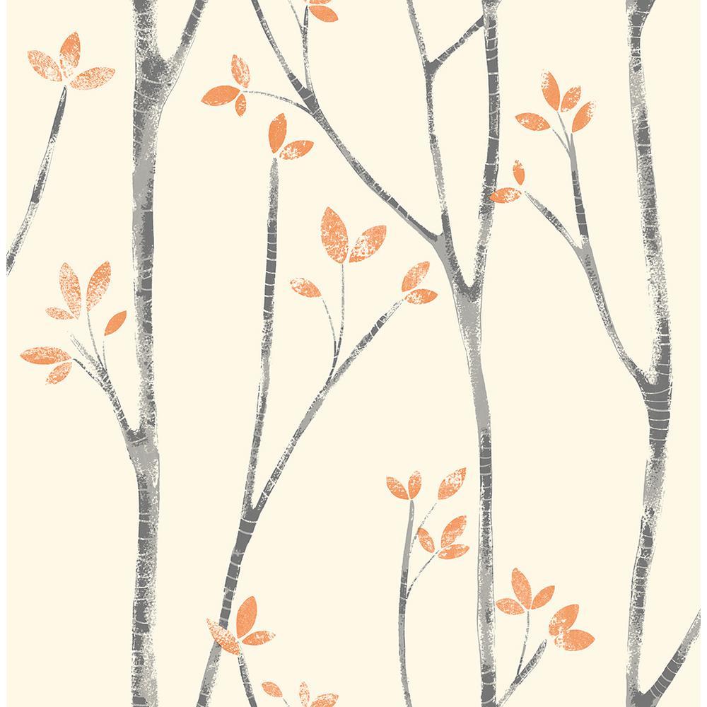 56.4 sq. ft. Ingrid Orange Scandi Tree Wallpaper