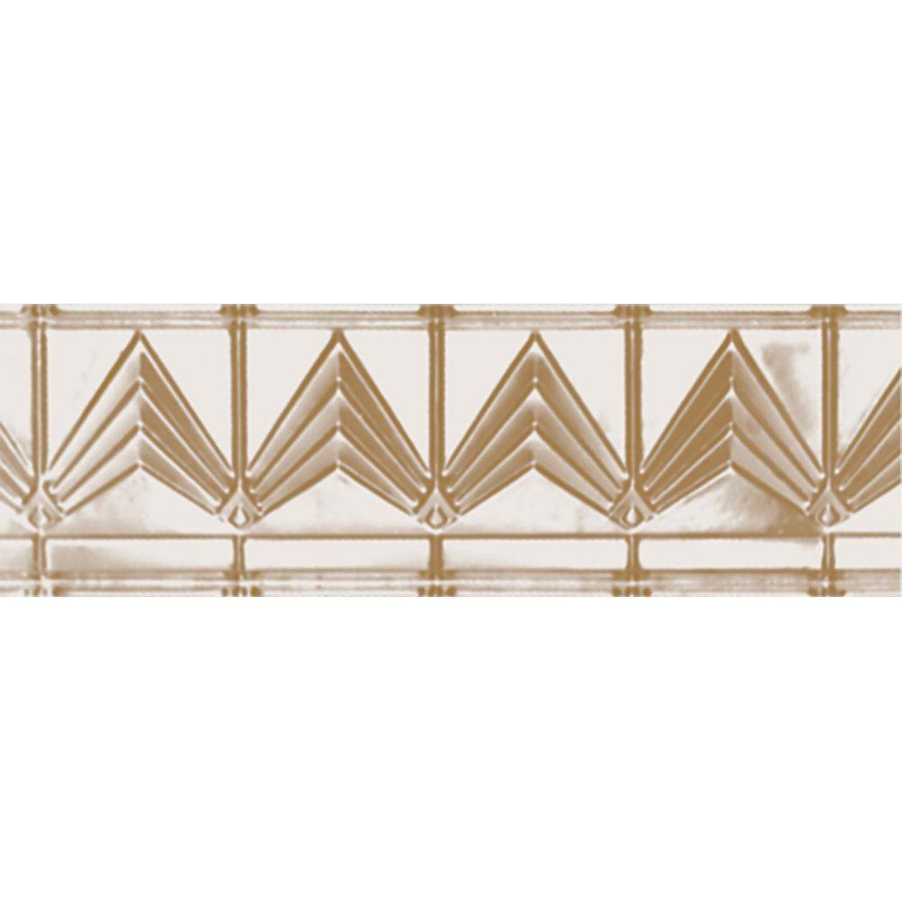 Shanko 6 in. x 4 ft. x 6 in. Satin Brass Nail-up/Direct Application Tin Ceiling Cornice (6-Pack)
