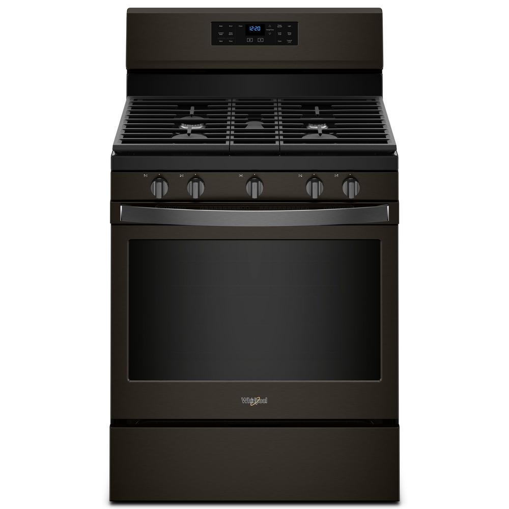 Whirlpool 5 cu. ft. Gas Range with Fan Convection Cooking in Fingerprint Resistant Black Stainless