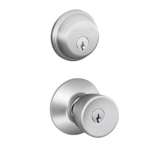Schlage Satin Chrome Single Cylinder Deadbolt With Bell