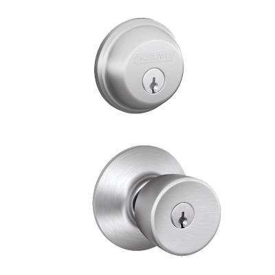 Satin Chrome Single Cylinder Deadbolt with Bell Entry Door Knob Combo Pack