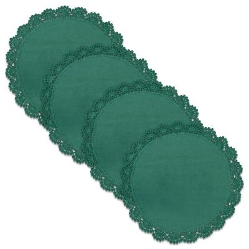 Crochet Envy Petal Edge 8 in. Teal Round Doily (Set of 4)