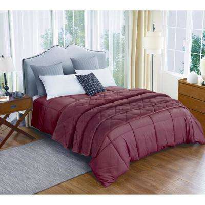 Microfiber Full/Queen Tawny Port Comforter and Velvet Blanket Set