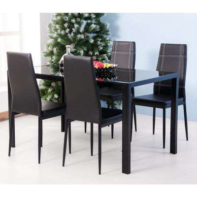 Modern Black 5-Piece Dining Set with Tempered Glass Table