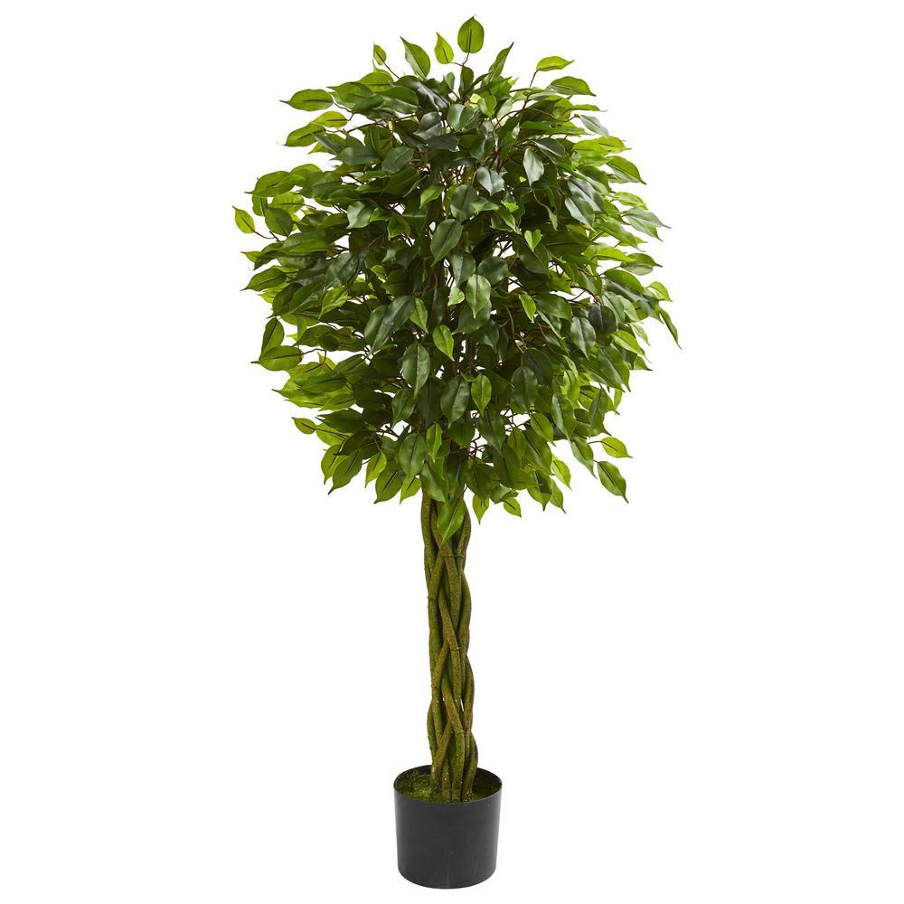4 ft. UV Resistant Indoor/Outdoor Ficus Artificial Tree with Woven Trunk