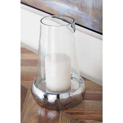 9 in. Stainless Steel and Glass Hurricane Candle Holder