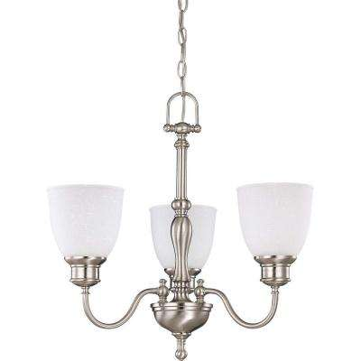 3-Light Brushed Nickel Chandelier with Frosted Linen Glass Shade