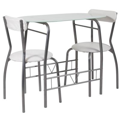 3-Piece White Glass Dining Table and Chair Sets