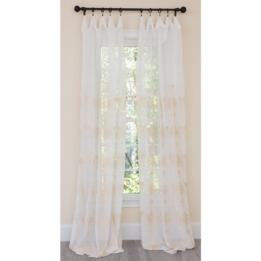 Manor Luxe Lillie Embroidered Sheer Rod Pocket Single Curtain Panel In Gold 54 X 108