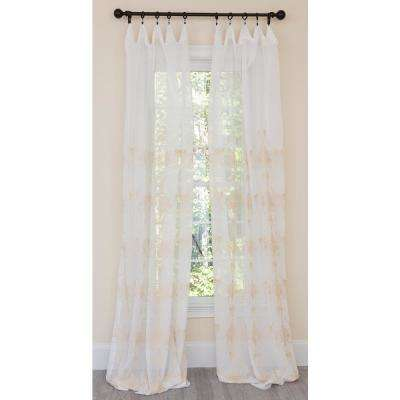 Lillie Embroidered Sheer Rod Pocket Single Curtain Panel in Gold - 54 in. x 96 in.