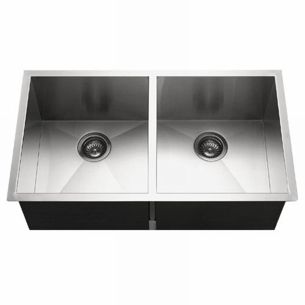 HOUZER Contempo Series Undermount Stainless Steel 33 in. Double Bowl on swanstone kitchen sinks, antique kitchen sinks, stainless steel kitchen sinks, overmount kitchen sinks, inset kitchen sinks, farm kitchen sinks, black kitchen sinks, ceramic kitchen sinks, stone sinks, single bowl kitchen sinks, undermount sinks 60 40, american standard kitchen sinks, home depot undermount sinks, smart divide kitchen sinks, granite kitchen sinks, solid surface kitchen sinks, kohler kitchen sinks, lowes kitchen sinks, farmhouse kitchen sinks, elkay sinks,