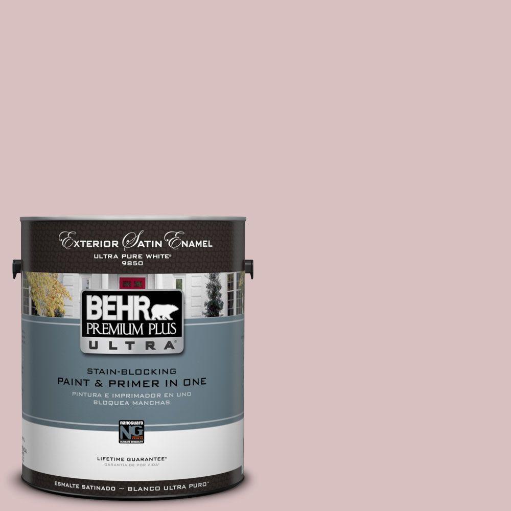 BEHR Premium Plus Ultra 1-Gal. #UL100-13 Peony Blush Satin Enamel Exterior Paint-DISCONTINUED