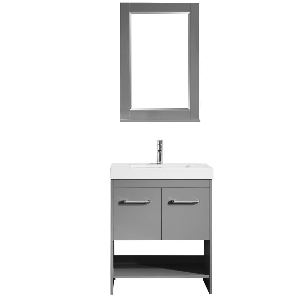 Siena 30 in. W x 18 in. D Vanity in Grey with Acrylic Vanity Top in ...