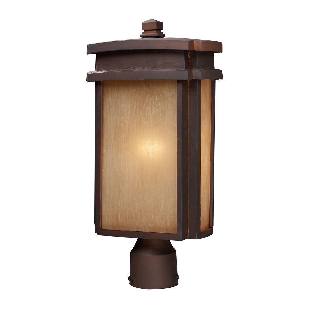 Titan Lighting Sedona 1-Light Outdoor Clay Bronze Post Light