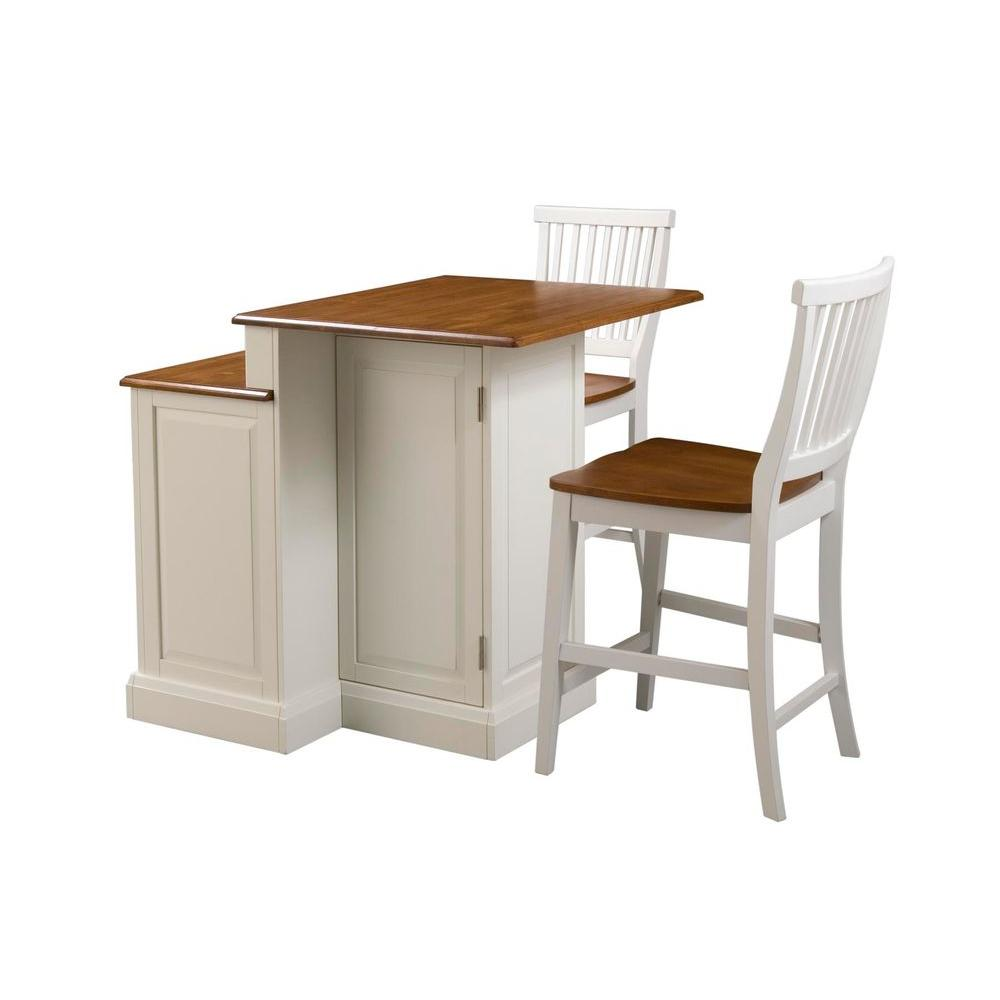 Kitchen Stools Home Depot: Home Styles Woodbridge White Kitchen Island With Seating