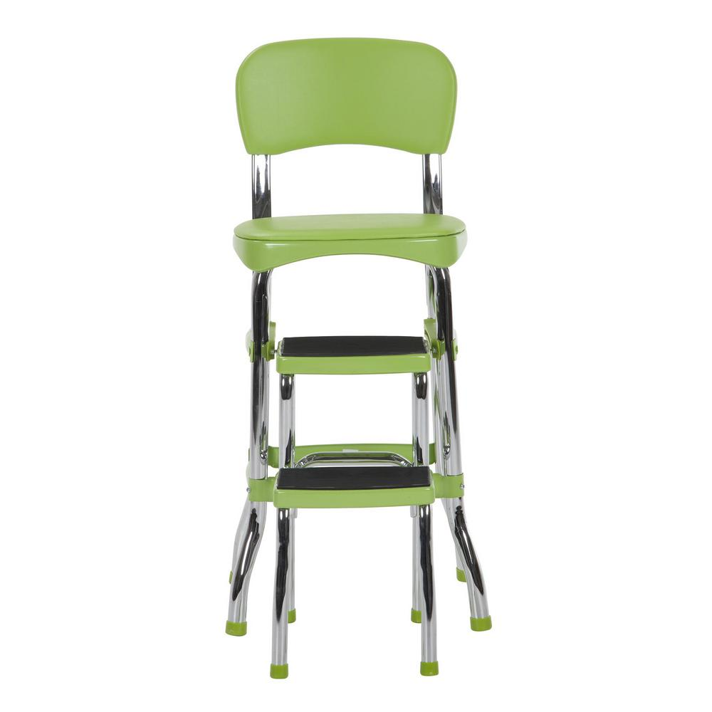 Stupendous Cosco 2 Step 3 Ft Aluminum Retro Step Stool With 225 Lb Load Capacity In Green Machost Co Dining Chair Design Ideas Machostcouk