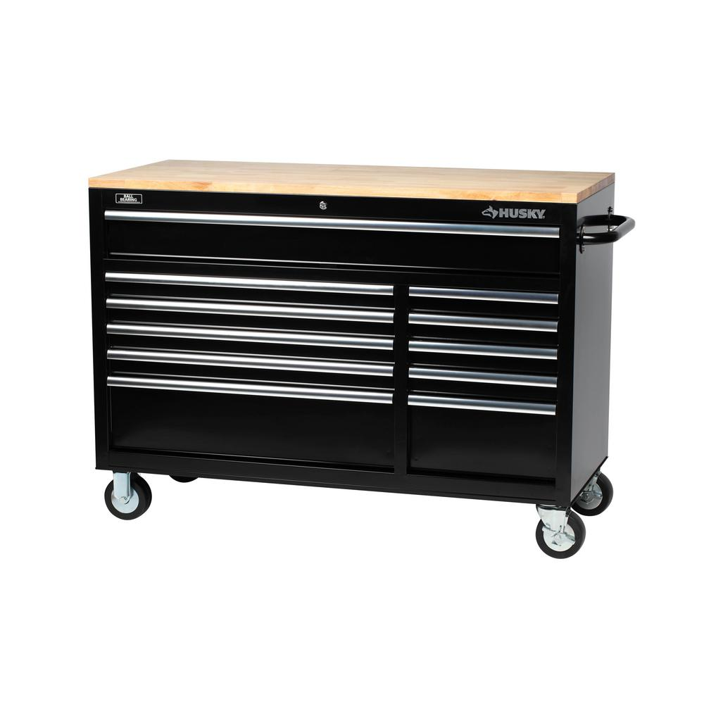 Husky 52 in. 11-Drawer Mobile Workbench with Solid Wood Top, 22 in. Extra Deep