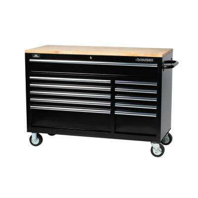 52 in. 11-Drawer Mobile Workbench with Solid Wood Top, 22 in. Extra Deep