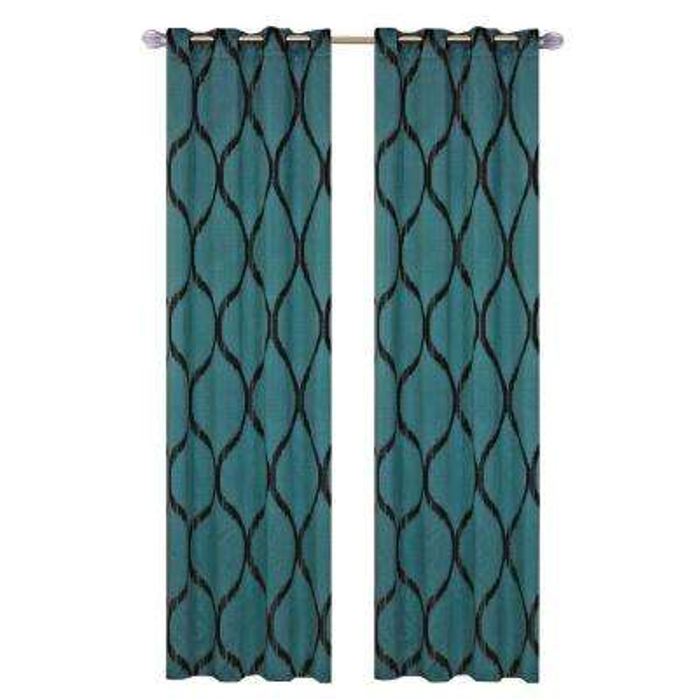 Jade Metallic Grommet Curtain Panel, 84 in. Length (Set of 2)