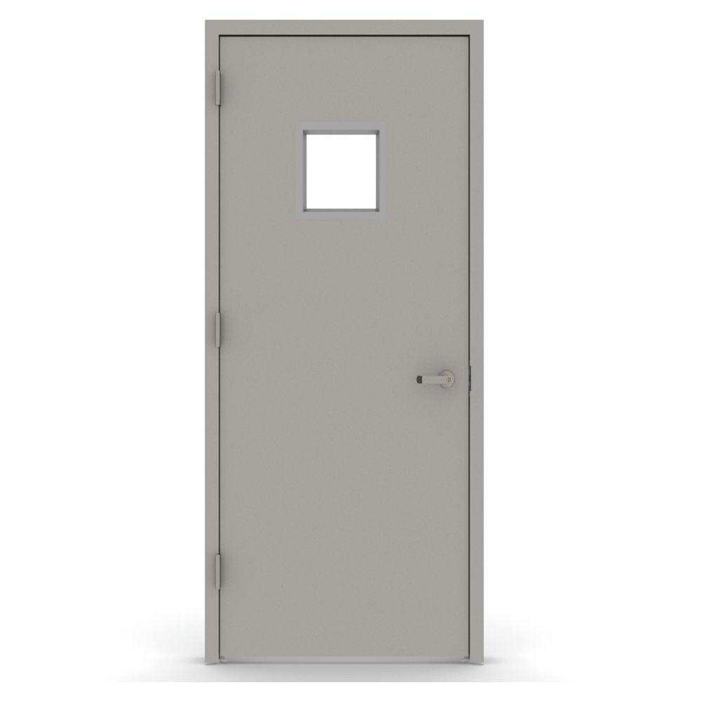 L.I.F Industries 36 in. x 80 in. Vision Lite 1010 Right-Hand Steel Prehung Commercial Door with Welded Frame