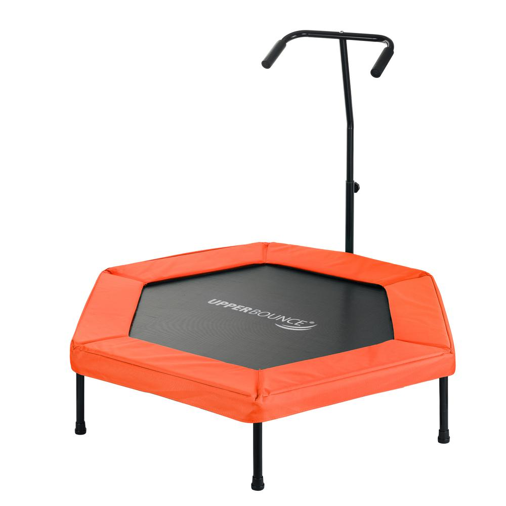 Upper Bounce 50 in. Hexagonal Fitness Mini-Trampoline with T-Shaped Adjustable Hand Rail and Bungee Cord Suspension in Orange