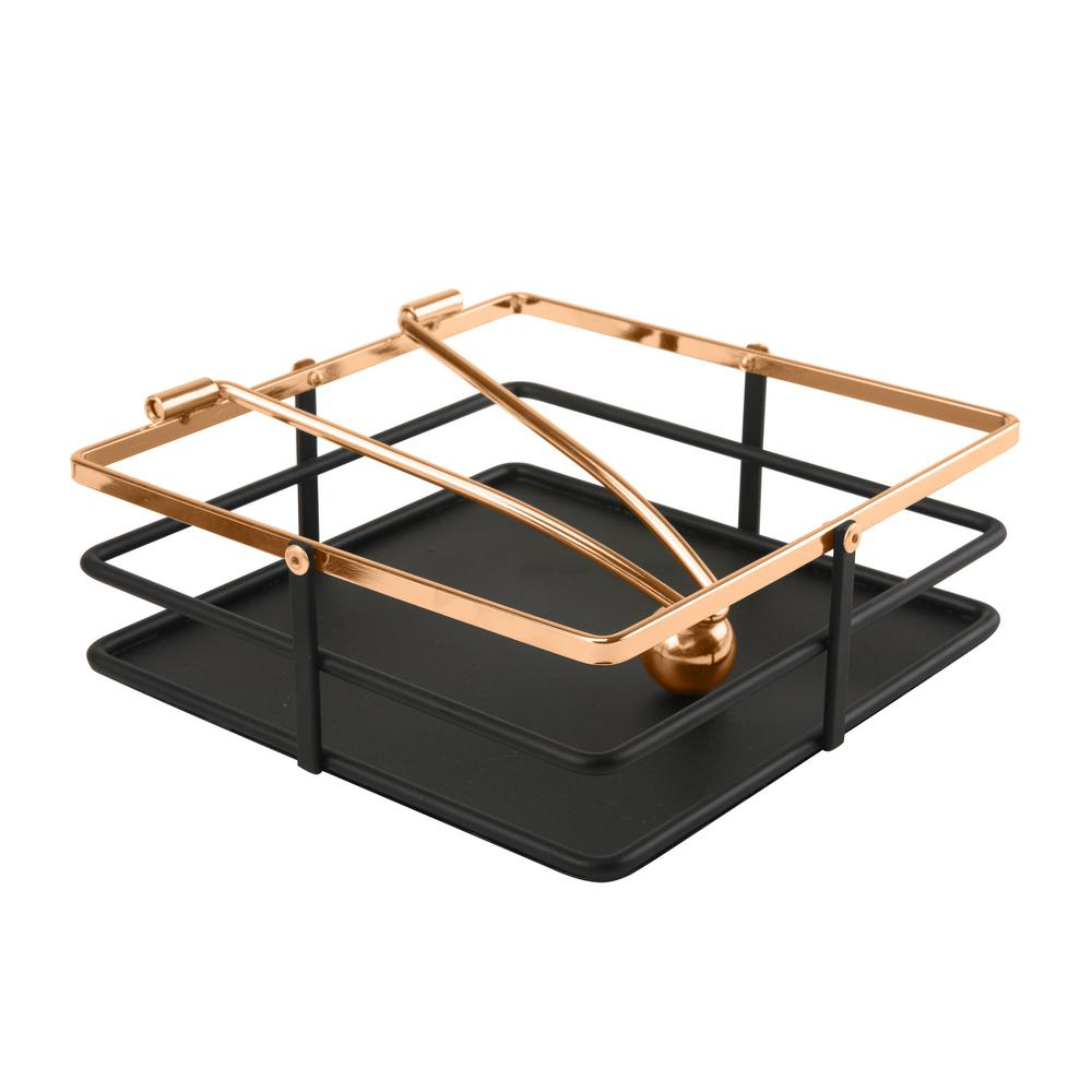 Macbeth Weighted Arm Matte Black And Rose Gold Napkin Holder