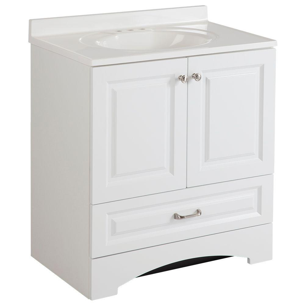 Glacier Bay Lancaster 30 in. W Vanity in White with Cultured Marble Vanity Top in White