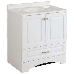 Lancaster 30 in. W Bath Vanity in White with Cultured Marble Vanity Top in White