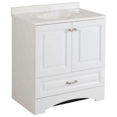 Lancaster 30 in. W Vanity in White with Cultured Marble Vanity Top in White