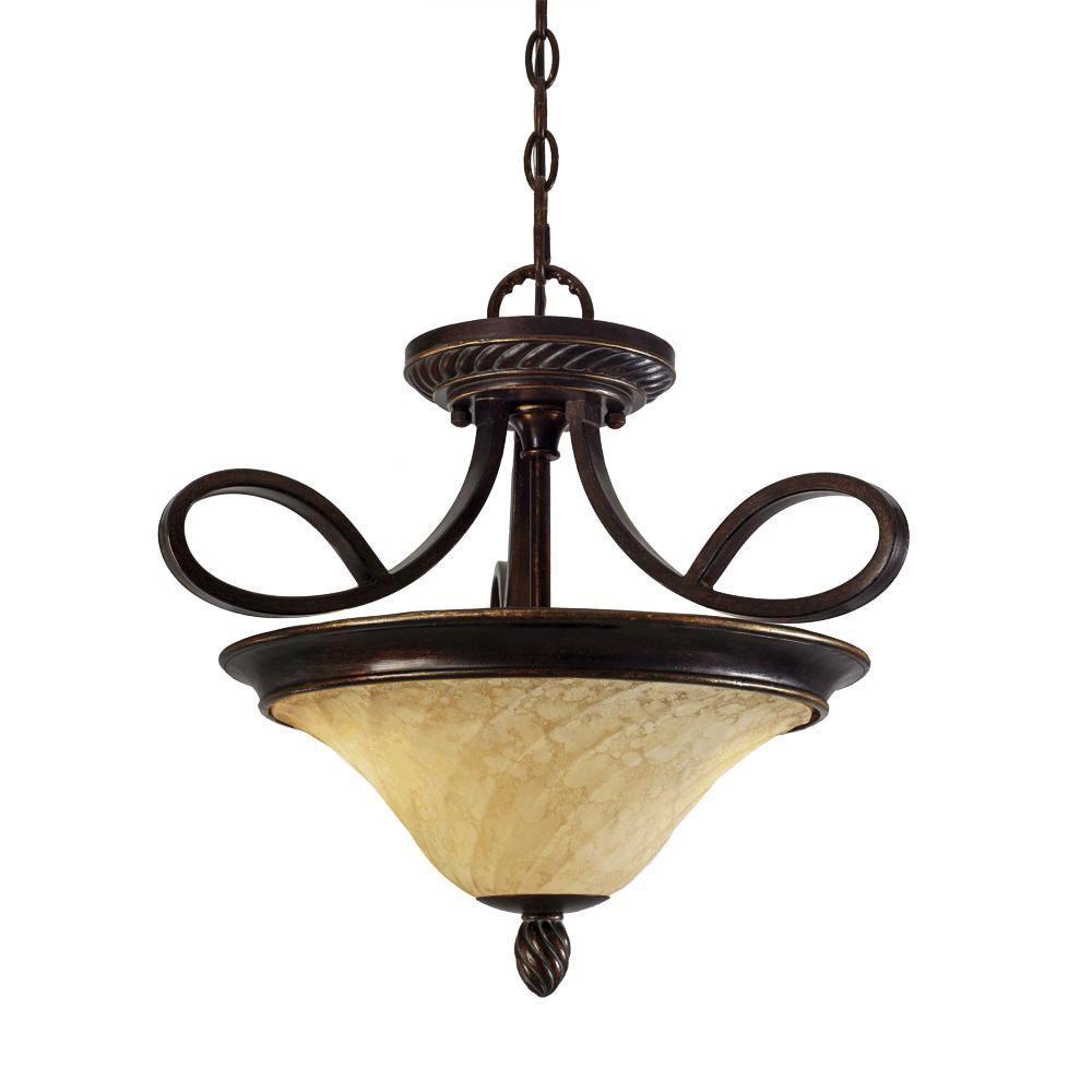 Laurent Collection 2-Light Cordoban Bronze Semi-Flush Mount/Pendant Convertible