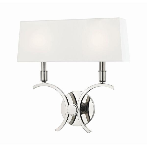 Gwen 2-Light 14.5 in. W Polished Nickel Wall Sconce with White Linen Shade