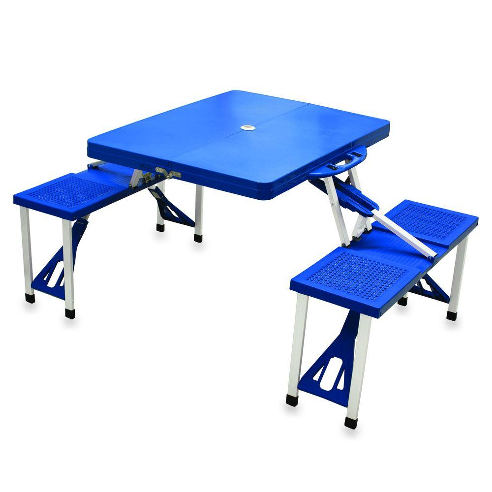 Picnic Time Portable Folding Blue Patio Picnic Table with Seats