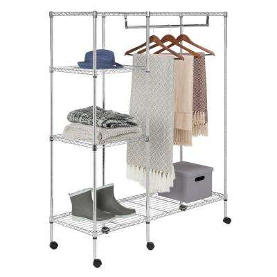 Eliza 47.2 in. x 59 in. Chrome Adjustable Portable Wardrobe