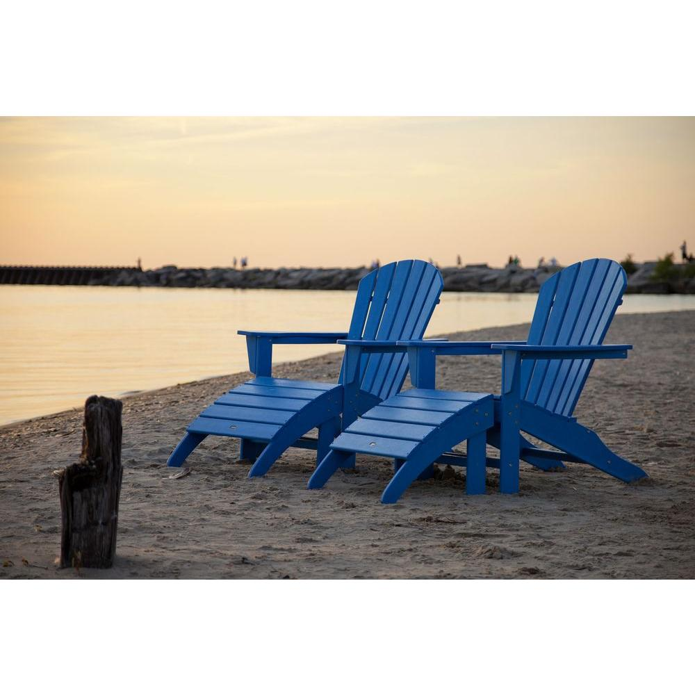 South Beach Pacific Blue Plastic Patio Adirondack Chair (2-Pack)