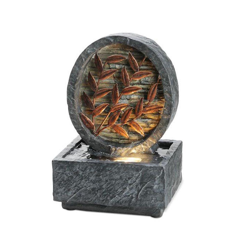 OK LIGHTING 9.5 in. Antique Copper Leaf Fountain
