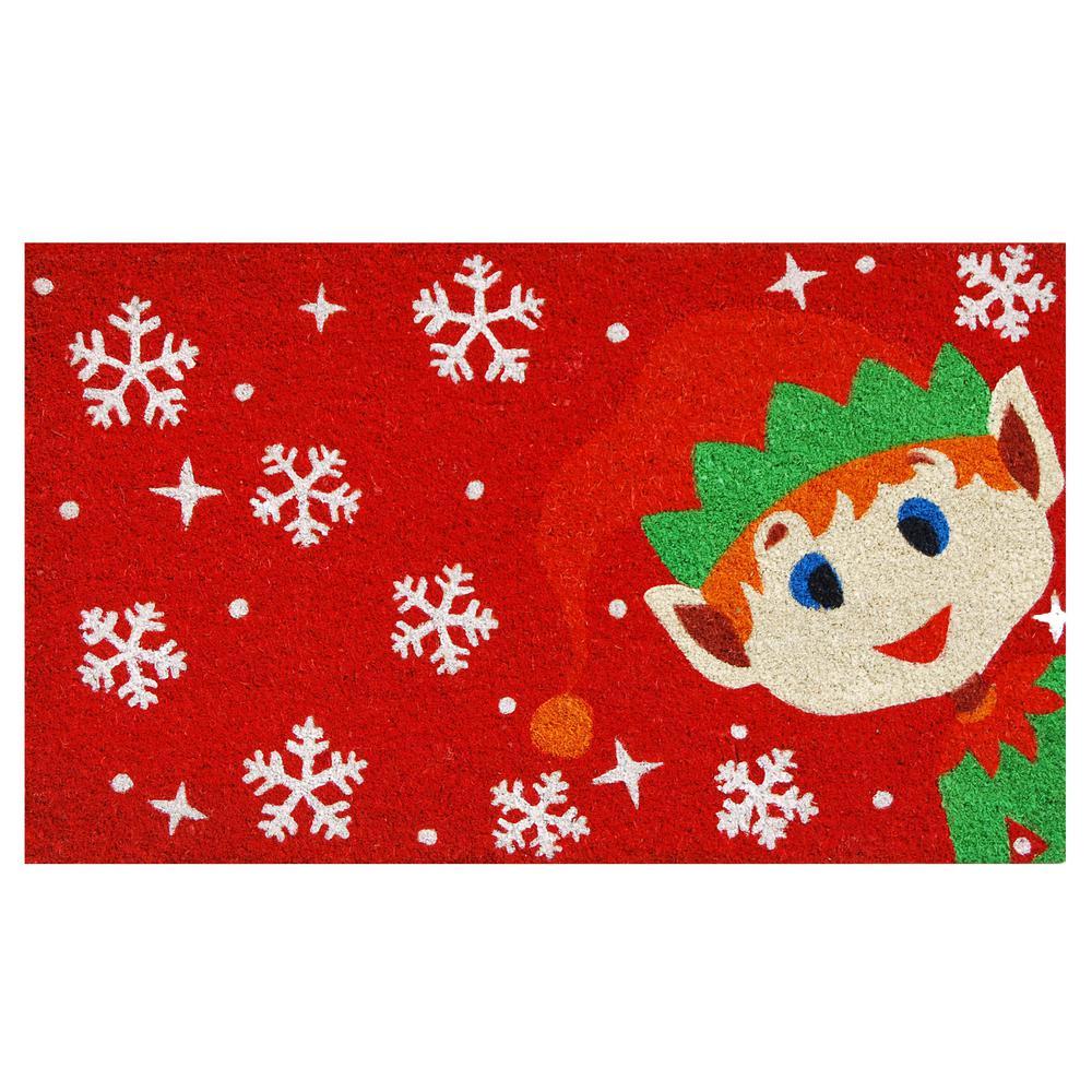 Christmas Elf 17 in. x 29 in. Coir Door Mat