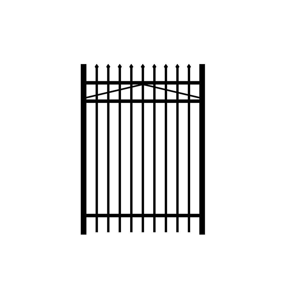 Washington 4 ft. W x 4 ft. H Black Aluminum 3-Rail Fence Gate