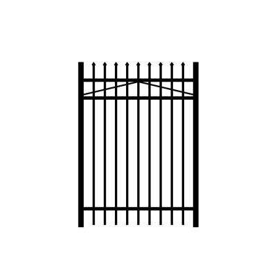 Washington 4 ft. W x 5 ft. H Black Aluminum 3-Rail Fence Gate