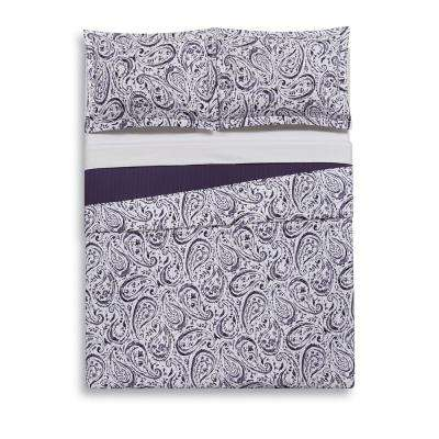 Watercolor Paisley Eggplant Multi-Color Full/Queen Quilt Set