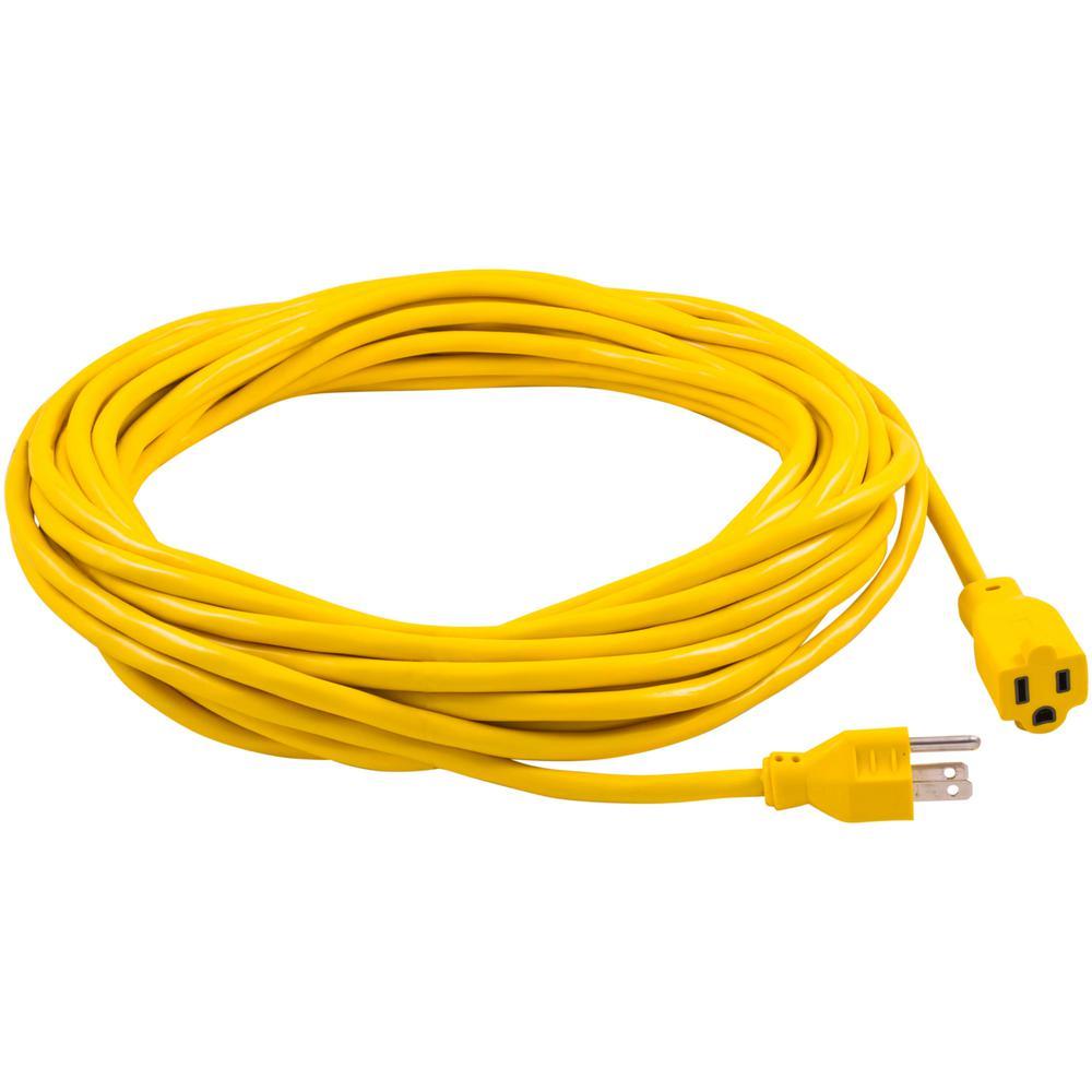 12//3 6ft SJTW 15 Amp 125 Volt 1875 Watt Lighted End Indoor//Outdoor Black Heavy Duty Extension Cord 6 Feet