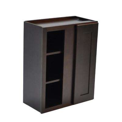 Brookings Plywood Assembled Shaker 24x30x12 in. 1-Door Blind Wall Kitchen Cabinet in Espresso