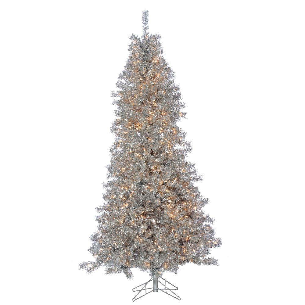 Tinsel Christmas Tree: Sterling 7.5 Ft. Pre-Lit Silver Curly Tinsel Artificial