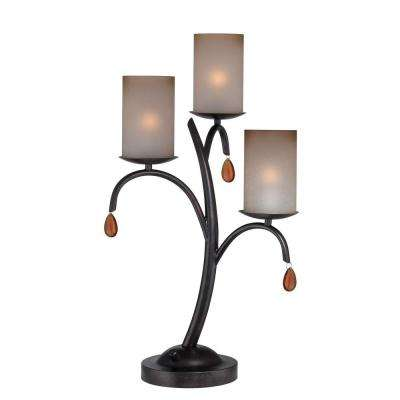 Designer Collection 25 in. Bronze Table Lamp with Amber Glass Shade