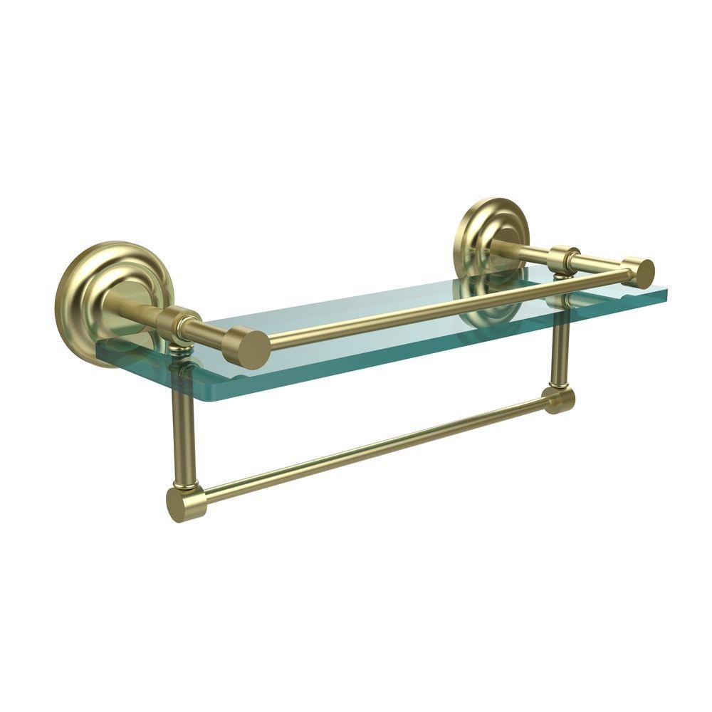 16 in. L  x 5 in. H  x 5 in. W Gallery Clear Glass Bathroom Shelf with Towel Bar in Satin Brass