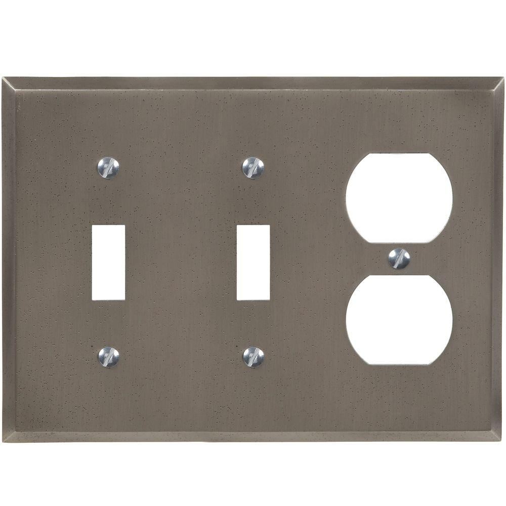 Metal Wall Plate Covers Amerelle Manhattan 2 Toggle And 1 Duplex Wall Plate  Gun Metal