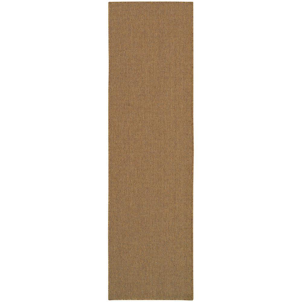 Caicos Solid Weave Tan 2 Ft 3 In X 7 Ft 6 In Indoor Outdoor Runner Rug 819800 The Home Depot